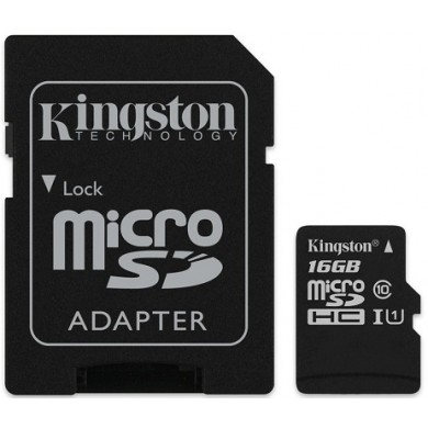 16GB microSD Class10 UHS-I + SD adapter  Kingston Canvas Select, 400x, Up to: 80MB/s