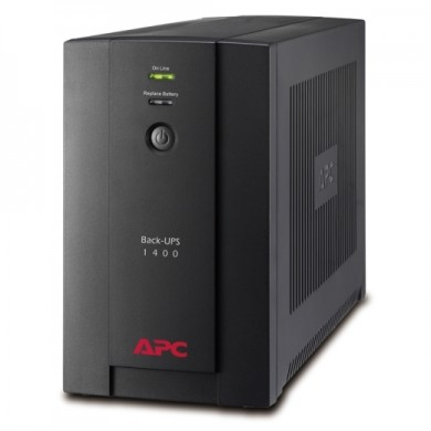 APC Back-UPS BX1400UI, 1400VA/700W, AVR, 6 x IEC Sockets ( 3 Battery Backup + 3 Surge Protected), RJ-11 Data Line Protection, LED indicators, PowerChute USB Port