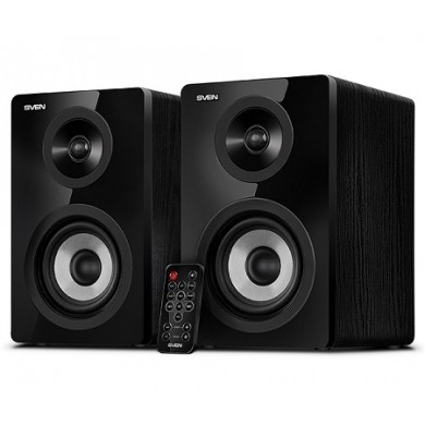 "SVEN SPS-750 Black, 2.0 / 2x25W RMS, Bluetooth, Optical input, remote control, headphone jack, glossy black front panels, wooden, (4""+1"")"
