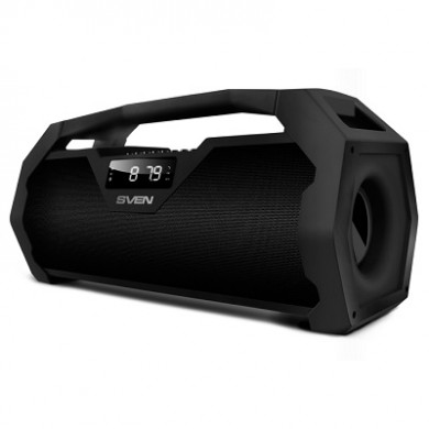 SVEN PS-470 Black, Bluetooth Portable Speaker, 18W RMS, Support for iPad & smartphone, Bluetooth, LED display, FM tuner, USB & microSD, built-in lithium battery -1800 mAh, tracks control, AUX stereo input, Headset mode, USB or 5V DC power supply