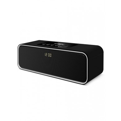 SVEN PS-175, Bluetooth Portable Speaker, 10W RMS, Support for iPad & smartphone, Bluetooth, LED display, clock and alarm, FM tuner, USB & microSD, built-in lithium battery -2000 mAh, AUX stereo input, Headset mode, USB or 5V DC power supply, Black
