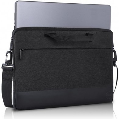 "Dell Professional Sleeve 15"" NB Bag - The professionally chic heather dark grey exterior and plush-lined interior protect your laptop from scratches or damage, Black/Grey"