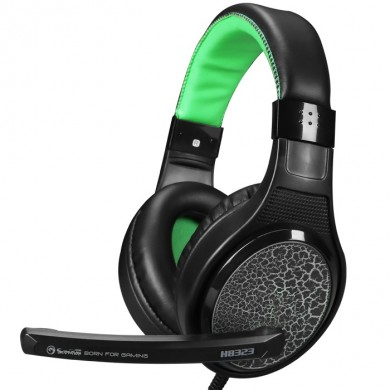 "MARVO ""H8323"", Gaming Headset, Microphone, 40mm driver unit, Volume control, Adjustable headband, 2x3.5mm jack, cable 1.8m, Black-Green"