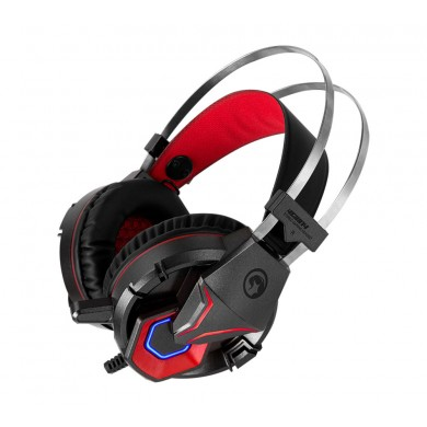 "MARVO ""HG8914"", Gaming Headset, Microphone, 50mm driver unit, Volume control, Adjustable headband, Blue and Orange illumination, 2x3.5mm jack, USB-for illumination, cable 2.3m, Black-Red"