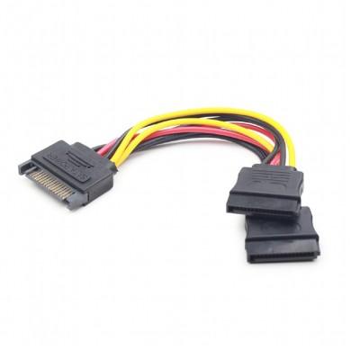 SATA Power Cable - 0.15m - Cablexpert CC-SATAM2F-01, SATA power supply splitter cable with single SATA male to 2 x SATA female connectors