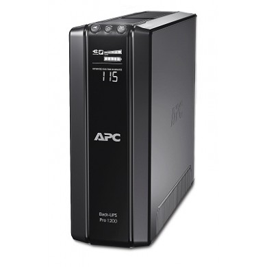 APC Back-UPS Pro BR1200G-RS, 1200VA/720W, AVR, 6 x CEE 7/7 Schuko (3 Battery Backup, all 6 Surge Protected), RJ-11/ RJ-45 Data Line Protection, LCD Display,  PowerChute USB /Serial Port