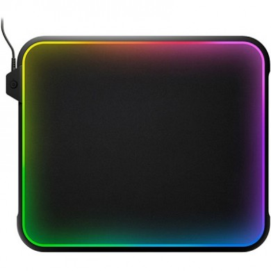 STEELSERIES QcK Prism / Gaming Mousepad with GameSense RGB Lighting Support, Dual-Textured Surface Cloth and Hard Polymer (Plastic), Dimensions: 356.7 x 292.4 x 8.7 mm, Black