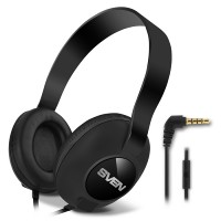 SVEN AP-310M, Headphones with microphone, 3.5mm (4 pin) stereo mini-jack, Microphone on the cable, Call acceptance/Pause button, Cable length: 1.2m, Black