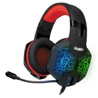 SVEN AP-U988MV, Gaming Headphones with microphone, sound 7.1, 7 colors dynamic backlight, Non-tangling cable with fabric braid, Cable length: 2.2m, USB, Black/Red