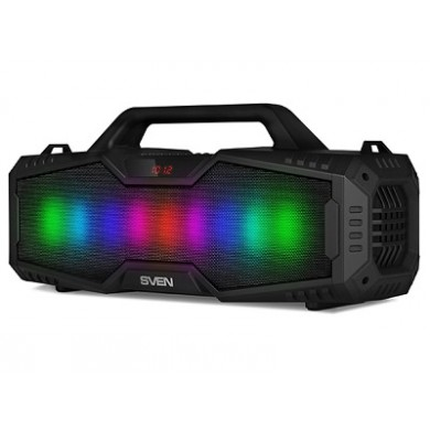SVEN PS-480 Black, Bluetooth Portable Speaker, 24W RMS, Effective multi-colored lighting, LED display, FM tuner, USB & microSD, built-in lithium battery-2000 mAh, tracks control, AUX stereo input, Headset mode, micro USB or 5V DC power supply