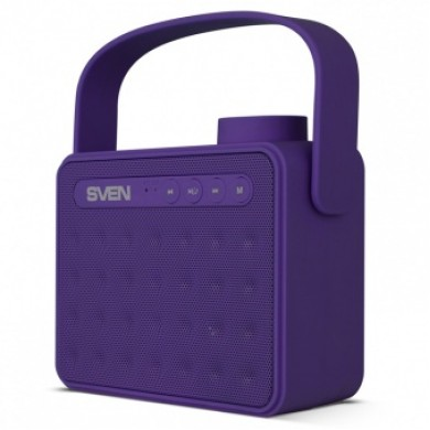 SVEN PS-72, Bluetooth Portable Speaker, 6W RMS, Support for iPad & smartphone, Bluetooth, FM tuner, USB & microSD, built-in lithium battery -1200 mAh, AUX stereo input, Headset mode, USB or 5V DC power supply, Purple