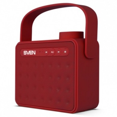 SVEN PS-72, Bluetooth Portable Speaker, 6W RMS, Support for iPad & smartphone, Bluetooth, FM tuner, USB & microSD, built-in lithium battery -1200 mAh, AUX stereo input, Headset mode, USB or 5V DC power supply, Red