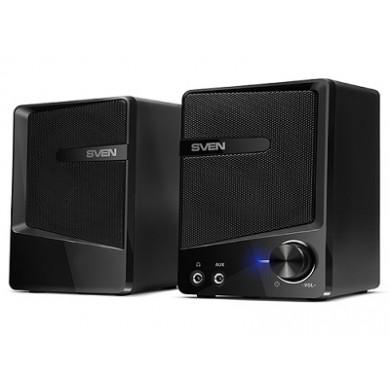 "SVEN 248 Black (USB),  2.0 / 2x3W RMS, USB/DC 5V power supply, headphone jack, AUX input, 2.8"""