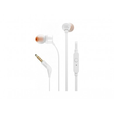 JBL T110 / In-ear headphones with microphone, Dynamic driver 9 mm, Frequency response 20 Hz-20 kHz, 1-button remote with microphone, JBL Pure Bass sound, Tangle-free flat cable, 3.5 mm jack, White