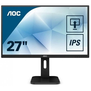 "27.0"" AOC IPS LED 27P1 Black (5ms, 80M:1, 250cd, 1920x1080, 178°/178°, VGA, DVI, HDMI, Display Port, Speakers 2 x 2W,  Audio Line-out, Pivot, USB 3.0 x 4, VESA)"