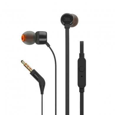 JBL T110 / In-ear headphones with microphone, Dynamic driver 9 mm, Frequency response 20 Hz-20 kHz, 1-button remote with microphone, JBL Pure Bass sound, Tangle-free flat cable, 3.5 mm jack, Black