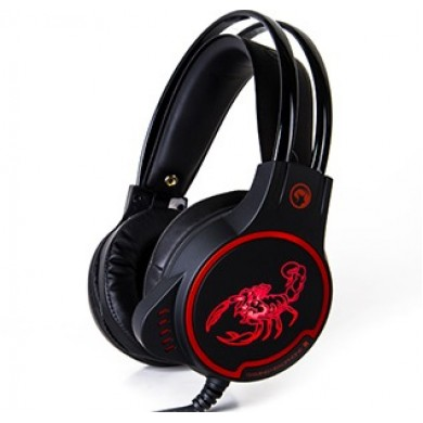 "MARVO ""HG8907"", Gaming Headset, Microphone, 40mm driver unit, Volume control, Red LED Illumination, 3.5mm jack, USB, cable 2.5m, Black-Red"