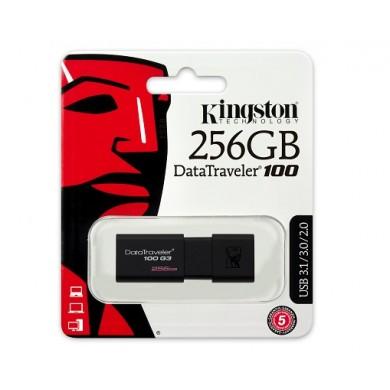 256GB USB3.0  Kingston DataTraveler 100 G3 Black, Retractable USB connector, (Read 130 MByte/s, Write 12 MByte/s)