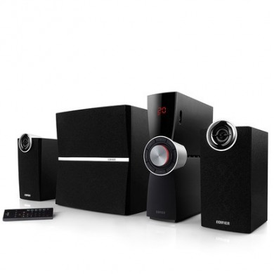"Edifier C2XB Black, 2.1/ 64W (40W+2x12W) RMS, with External Amplifier, remote control, Audio in: Bluetooth 4.0, USB, SD card, RCA, 3.5mm jack, sub. wooden, (sub.6,5"" + satl. (3""+3/4"")"