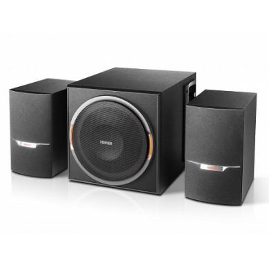 Edifier XM3BT Black, 2.1/ 38W (22W+ 2x8W) RMS, FM Radio, Bluetooth V4.1, USB & SD card  &  AUX Input (MP3 & WMA support), LED lighting effects, all wooden, (sub. 5 1/4
