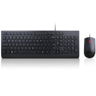 Lenovo Essential Wired Keyboard and Mouse Combo, USB, Black.