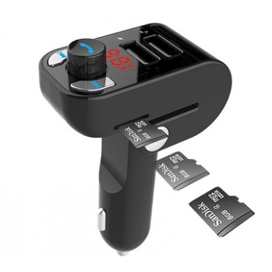 "USB Car Charger 3-in-1 carkit - Gembird ""BTT-02"" Black, FM-radio transmitter 87.5-108MHz, MicroSD and USB MP3 audio player, Bluetooth 4.2, USB 3.1 A charger 5V DC up to 3.1 A"
