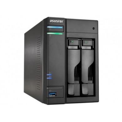 """2-bay NAS Server  ASUSTOR """"AS6302T"""", Intel Celeron J3355 (Dual-Core) 2.0-2.5GHz, 2GB DDR3L(1GB x2, Max. 8G), 2.5""""/3.5""""SATA x2 (Hot Swap), USB3.0 x4 (Type A x3, Type C x1), Gigabit LAN x2, HDMI, S/PDIF, WOW, AES-NI, HT, IR, Surveillance: <36 (4 Free)"""