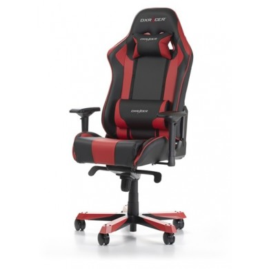 """Gaming/Office Chair DXRacer King GC-K06-NR-S3, Black/Red, Premium PU leather + Carbon look PVC,  max weight up to 150kg / height 160-195cm, Rocking Function, Recline 90°-135°, 4D Armrests, cushions, Aluminum X2 wheelbase, 3"""" PU Caster, W-29.15kg"""