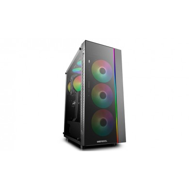 "DEEPCOOL ""MATREXX 55 ADD-RGB"" ATX Case, with Side-Window (full sized 4mm thickness), Tempered Glass Side & Front panel, without PSU, Tool-less, RGB LED Strip in the front, 2 extra connectors for 5V ADD-RGB devices, 1xUSB3.0, 2xUSB2.0 /Audio, Black"
