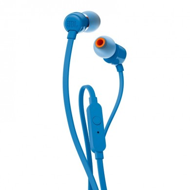 JBL T110 / In-ear headphones with microphone, Dynamic driver 9 mm, Frequency response 20 Hz-20 kHz, 1-button remote with microphone, JBL Pure Bass sound, Tangle-free flat cable, 3.5 mm jack, Blue