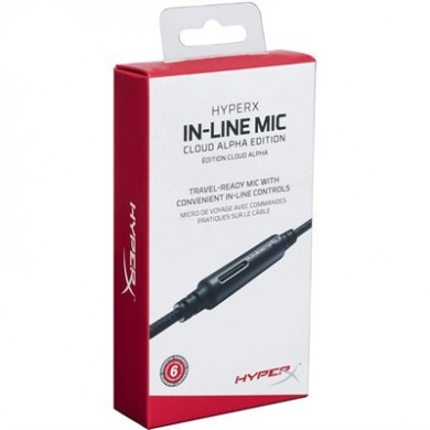 HYPERX In-Line Mic Cloud Alpha Edition, Compatible with Cloud Alpha, Single button for calls and media controls, Flexible Braided Cable