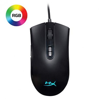 HYPERX Pulsefire Core Gaming Mouse, 400–6200 DPI, 4 DPI presets, Pixart 3327 sensor, RGB Logo, 7 x button mouse with ultra-responsive Omron switches, Comfortable symmetric design, Easy customisation with HyperX NGenuity software, USB, 87g