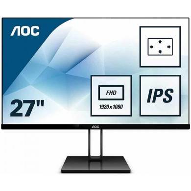 "27.0"" AOC IPS LED 27V2Q Borderless Black (5ms, 50M:1, 250cd, 1920x1080, 178°/178°, DisplayPort, HDMI, Slim design (7.7 mm), Audio Line-out)"