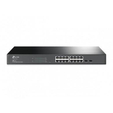 TP-LINK T1600G-18TS  16-port Gigabit Switch Pure-Gigabit Smart Switch, 16 10/100/1000Mbps LAN ports + 2 Gigabit SFP slots, Port/Tag/MAC/Voice/Protocol-based VLAN, GVRP, STP/RSTP/MSTP, IGMP V1/V2/V3 Snooping, L2/L3/L4 Traffic Classification/ Priority