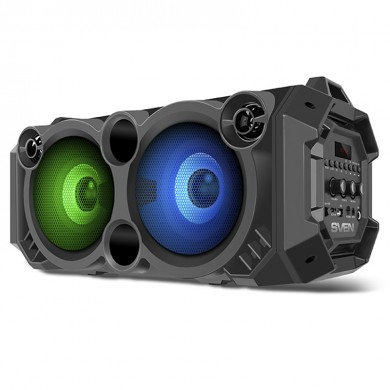 SVEN PS-550 Black, Bluetooth Portable Speaker, 36W RMS, Effective multi-colored lighting, LED display, FM tuner, USB & microSD, built-in lithium battery-2000 mAh, tracks control, AUX stereo input, Headset mode, micro USB or 5V DC power supply