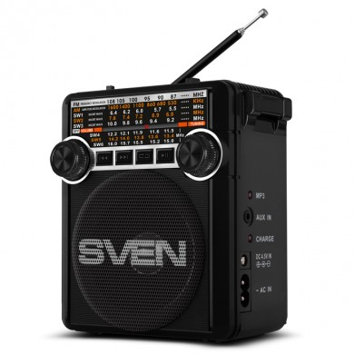 SVEN SRP-355 Black, FM/AM/SW Radio, 3W RMS, 8-band radio receiver, built-in audio files player from USB-fash, microSD and SD card storage devices, telescopic swivel antenna, built-in battery