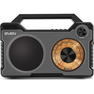 SVEN SRP-755 Black, Bluetooth ,FM/AM/SW-Radio, 8W RMS, 8-band radio receiver, built-in audio files player from USB-fash, microSD and SD card storage devices, built-in battery