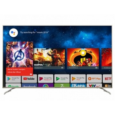 "58"" LED TV SKYWORTH 58G2, Silver, 3840x2160 (4K), SmartTV (Android OS), 300cd/m2, 5000:1, AI PQ Processor, Pure HDR, 4U Engine222,  Angle 178°, DTS TruSurround RMS 2x10W, HDMIx2, USBx2, WiFi/AC+Lan+BT, Optical, DVB-T/T2/C/S/S2/CI+, Vesa 200x200"