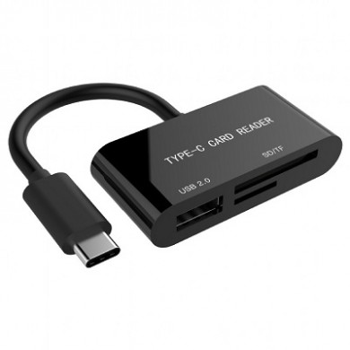 Card Reader USB Type-C Gembird UHB-CR3-02, Supports  SD + Micro-SD, supporting SDHC and SDXC, Black