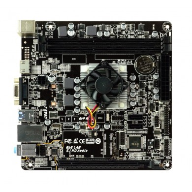 Biostar A68N-5600E, MB + CPU onboard: Quad-core AMD A4-3350B  (2.0-2.4GHz), 2xDDR3-1600, AMD Radeon R4 Graphics, support HDCP, VGA, HDMI, 1x PCI-Ex16, 2xSATA3, RAID, COM Header,  ALC887 5.1-Ch HD A, GbE LAN, 2xUSB3.1 Gen 1, mini-ITX