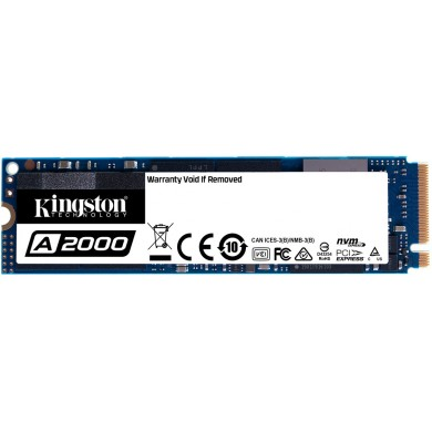 M.2 NVMe SSD 250GB Kingston A2000, Interface: PCIe3.0 x4 / NVMe1.3, M2 Type 2280 form factor, Sequential Reads 2000 MB/s, Sequential Writes 1100 MB/s, Max Random 4k Read 150,000 / Write 180,000 IOPS, SM2263EN controller, 96-layer 3D NAND TLC