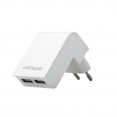 Universal USB Charger - Gembird EG-U2C2A-02-W, 2x USB - 5V/2.1A, Input: 110/240V, White