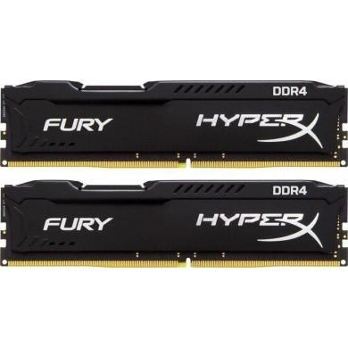 32GB (Kit of 2*16GB) DDR4-3000  Kingston HyperX® FURY DDR4, PC24000, CL15, 1.35V, Auto-overclocking, Asymmetric BLACK heat spreader, Intel XMP Ready (Extreme Memory Profiles)