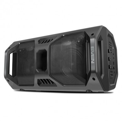 SVEN PS-600 Black, Bluetooth Portable Speaker, 50W RMS, Effective multi-colored lighting, LED display, FM tuner, USB & microSD, built-in lithium battery 2x4000 mAh, tracks control, AUX stereo input, Headset mode, micro USB or 5V DC power supply