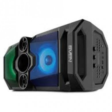 SVEN PS-650 Black, Bluetooth Portable Speaker, 50W RMS, Effective multi-colored lighting, LED display, FM tuner, USB & microSD, built-in lithium battery 2x4000 mAh, tracks control, AUX, RC, Optical, micro USB or 5V DC power supply