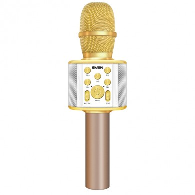 SVEN MK-950, Microphone for karaoke, white-gold (6W, Bluetooth, microSD, 1200mA*h)