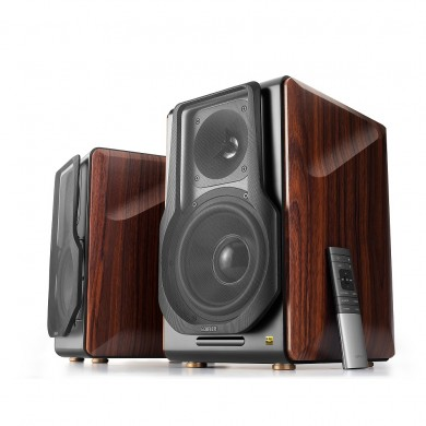 Edifier S3000 Pro, Hi-Res 2.0/ 256W (2x128W) RMS, Bluetooth V5.0 with Qualcomm® aptX™ HD decoding, Planar diaphragm tweeters, Audio in: two digital (Optical, Coaxial) & two analog (RCA), remote control, wooden