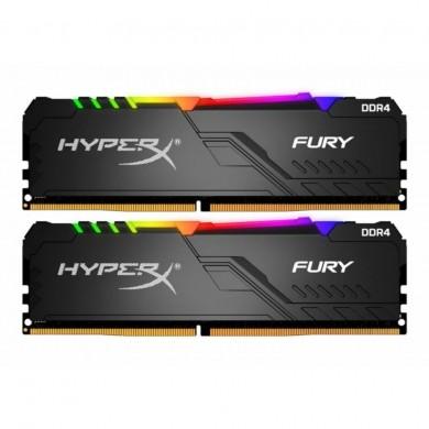 16GB (Kit of 2*8GB) DDR4-3000  Kingston HyperX® FURY DDR4 RGB, PC24000, CL15, 1.35V, Auto-overclocking, Asymmetric BLACK heat spreader, Dynamic RGB effects featuring HyperX Infrared Sync technology, Intel XMP Ready (Extreme Memory Profiles)