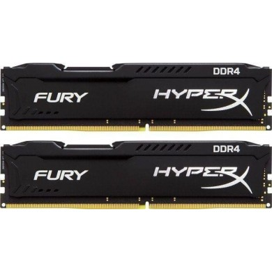 16GB (Kit of 2*8GB) DDR4-2666  Kingston HyperX® FURY DDR4, PC21300, CL16, 1.2V,  Auto-overclocking, Asymmetric BLACK heat spreader, Intel XMP Ready  (Extreme Memory Profiles)