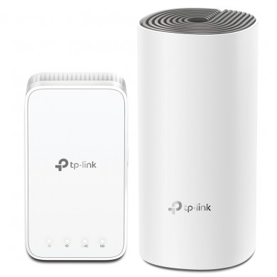 TP-LINK Deco E3 (2-pack)  AC1200 Mesh Wi-Fi System, 2 LAN Port, 867Mbps on 5GHz + 300Mbps on 2.4GHz, 802.11ac/b/g/n, Wi-Fi Dead-Zone Killer, Seamless Roaming with One Wi-Fi Name, Antivirus, Parental Controls
